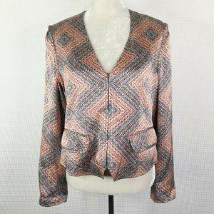 Nanette Leopore Jacket Size 12 Zip 100% Silk